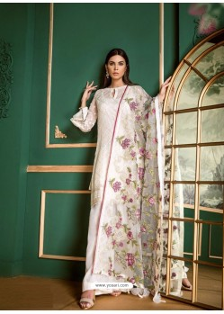 White Faux Georgette Heavy Embroidered Designer Straight Suit