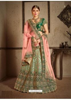 Dark Green Naylon Satin Heavy Embroidered Designer Wedding Lehenga Choli