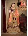 Wine Velvet Heavy Embroidered Designer Wedding Lehenga Choli