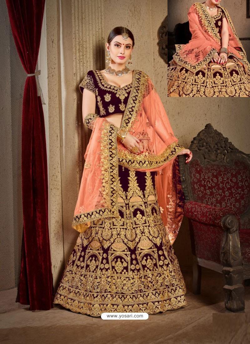 a88425841e Buy Wine Velvet Heavy Embroidered Designer Wedding Lehenga Choli ...