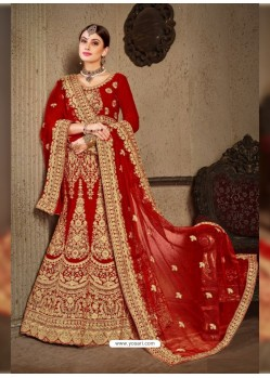 Red Velvet Heavy Embroidered Designer Wedding Lehenga Choli