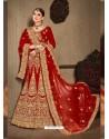 Red Velvet Heavy Embroidered Designer Wedding Lehenga Choli