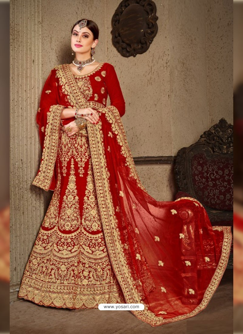 9a1a17b3d5623 Buy Red Velvet Heavy Embroidered Designer Wedding Lehenga Choli ...