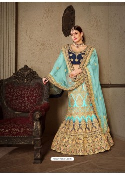 Firozi Naylon Satin Heavy Embroidered Designer Wedding Lehenga Choli