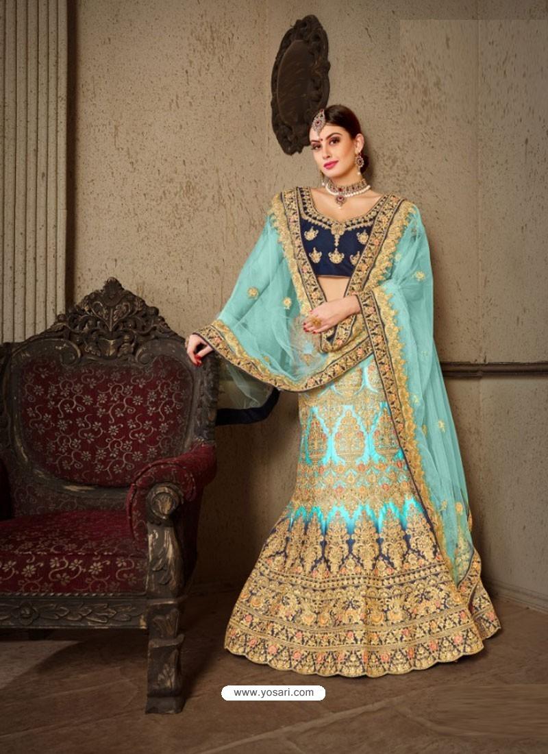 Firozi Naylon Satin Heavy Embroidered Designer Wedding Lehenga Choli