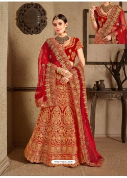 Eye Catching Red Velvet Heavy Embroidered Designer Wedding Lehenga Choli