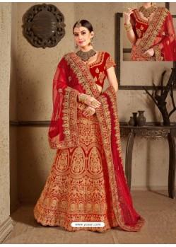 Eye Catching Red Velvet Heavy Embroidered Designer Wedding Lehenga Choli