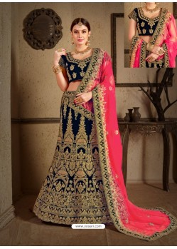 Navy Blue Velvet Heavy Embroidered Designer Wedding Lehenga Choli