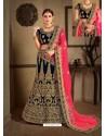 Navy Blue Velvet Heavy Embroidered Designer Wedding Lehenga Choli