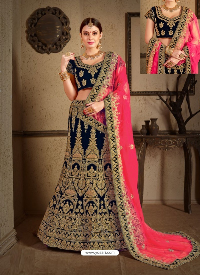 25bd89bdcd Buy Navy Blue Velvet Heavy Embroidered Designer Wedding Lehenga ...