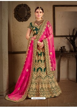 Pretty Dark Green Naylon Satin Embroidered Designer Wedding Lehenga Choli