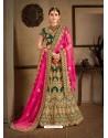 Pretty Dark Green Naylon Satin Embroidered Designer Wedding Lehenga Choli