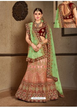 Peach And Green Naylon Satin Embroidered Designer Wedding Lehenga Choli