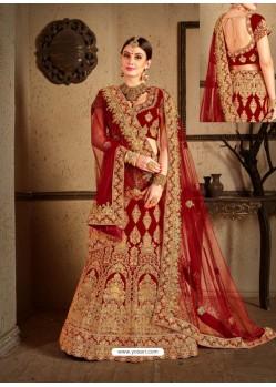 Maroon Velvet Heavy Embroidered Designer Wedding Lehenga Choli