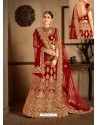 Maroon Velvet Heavy Embroidered Designer Wedding Lehenga Choli