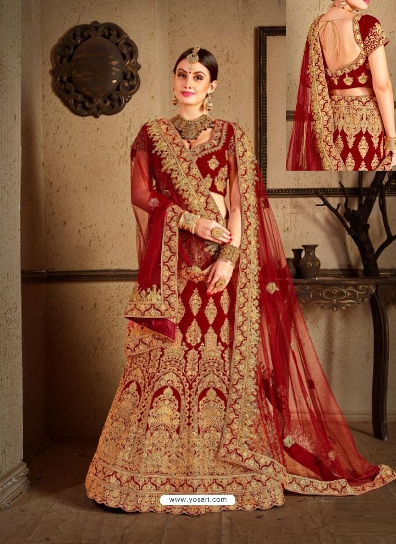 9415af2519 Buy Maroon Velvet Heavy Embroidered Designer Wedding Lehenga Choli ...
