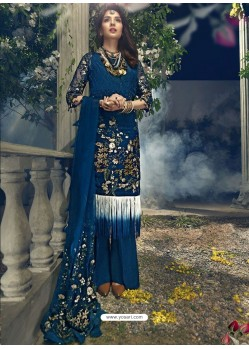 Peacock Blue Faux Georgette Heavy Embroidered Designer Straight Suit
