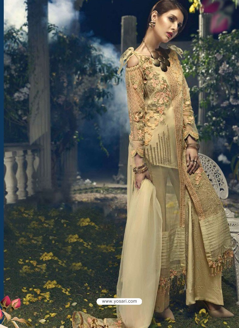 Cream Faux Georgette Heavy Embroidered Designer Straight Suit