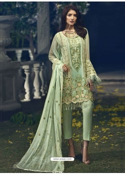 Sea Green Faux Georgette Heavy Embroidered Designer Straight Suit