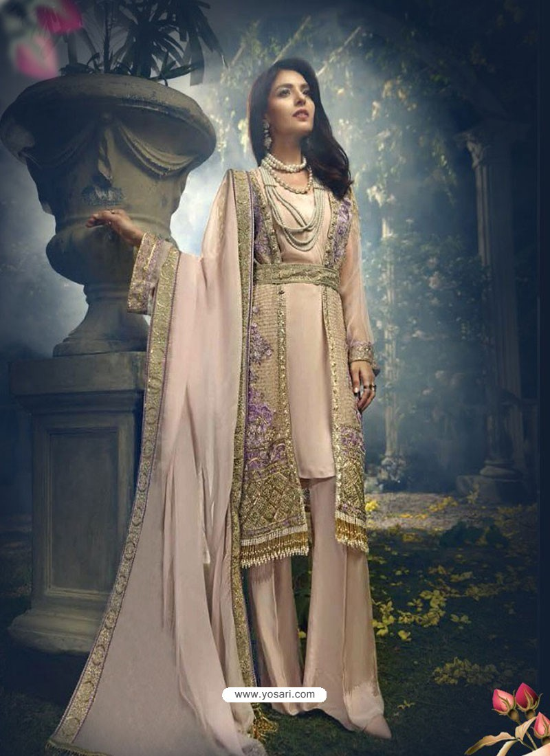 Baby Pink Faux Georgette Heavy Embroidered Designer Straight Suit
