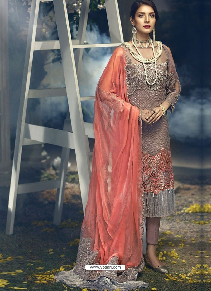 Dusty Pink Faux Georgette Heavy Embroidered Designer Straight Suit