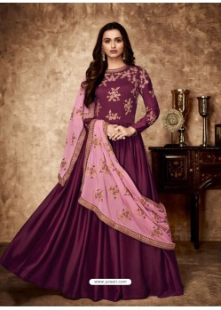 Deep Wine Royal Georgette Satin Embroidered Designer Anarkali Suit