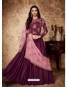 Deep Wine Royal Georgette Satin Embroidered Designer Anarkali Suit