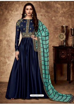 Navy Blue Royal Georgette Satin Embroidered Designer Anarkali Suit