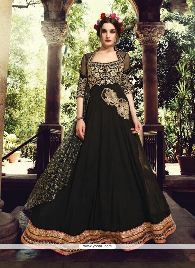 Exquisite Black Georgette Designer Anarkali Suit