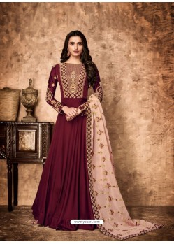 Maroon Royal Georgette Satin Embroidered Designer Anarkali Suit