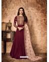 Maroon Royal Georgette Satin Embroidered Designer Anarkali Suit