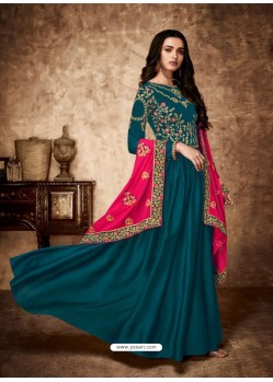 Teal Blue Royal Georgette Satin Embroidered Designer Anarkali Suit