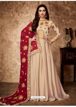 Light Beige Royal Georgette Satin Embroidered Designer Anarkali Suit