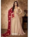 Light Beige Royal Georgette Satin Embroidered Designer Anarkali Suit