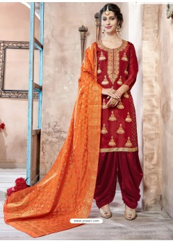 Red Pure Upadda Silk Embroidered Designer Salwar Suit