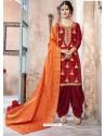 Red Pure Upadda Silk Embroidered Designer Salwar Suit