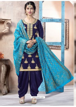 Navy Blue Pure Upadda Silk Embroidered Designer Salwar Suit