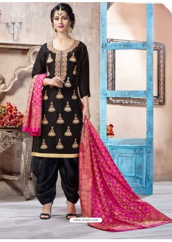 Black Pure Upadda Silk Embroidered Designer Salwar Suit
