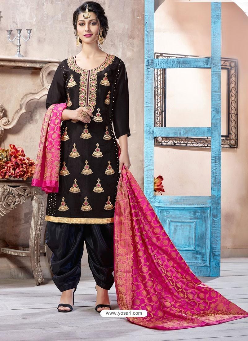 Black Pure Upadda Silk Embroidered Designer Salwar Suit