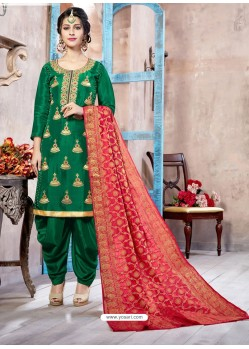 Dark Green Pure Upadda Silk Embroidered Designer Salwar Suit