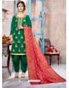 Dark Green Pure Upadda Silk Embroidered Designer Salwar Suit