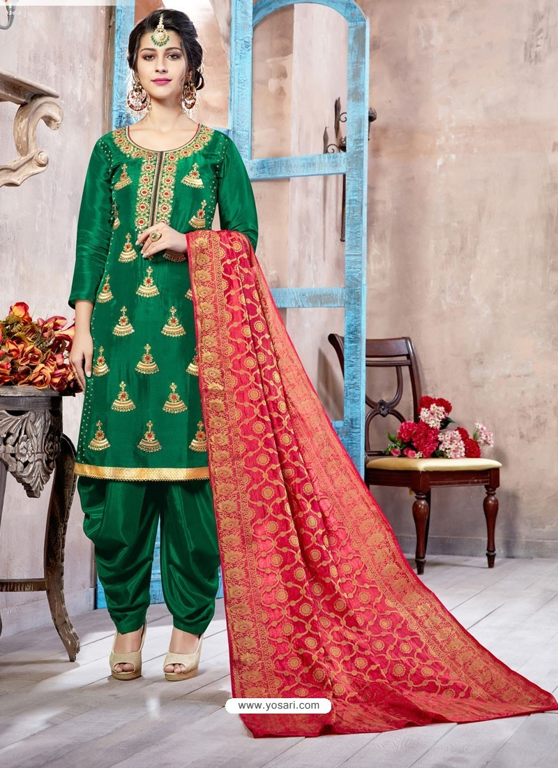 19d5ea5cc97 Buy Dark Green Pure Upadda Silk Embroidered Designer Salwar Suit ...