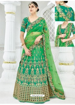 Forest Green Silk Satin Heavy Embroidered Hand Worked Designer Wedding Lehenga Choli
