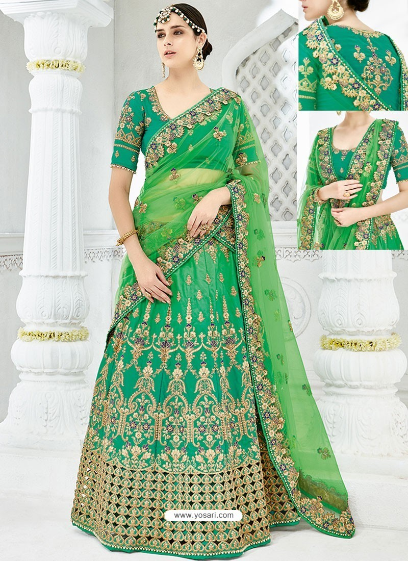 21dcfd1ab9 Forest Green Silk Satin Heavy Embroidered Hand Worked Designer Wedding Lehenga  Choli