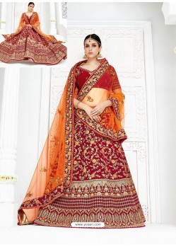 Beautiful Maroon Velvet Heavy Embroidered Hand Worked Designer Wedding Lehenga Choli