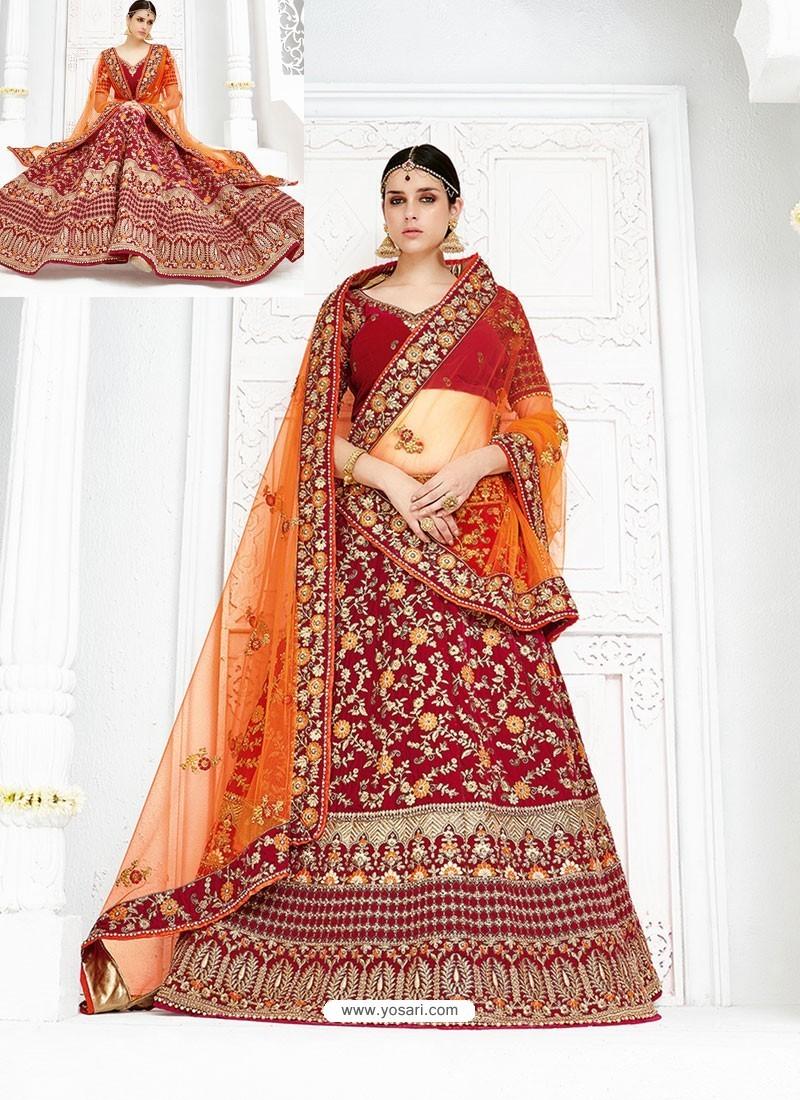 Beautiful Maroon Velvet Heavy Embroidered Hand Worked Designer Wedding Lehenga Choli