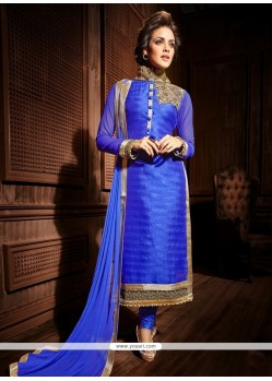 Miraculous Blue Bhagalpuri Silk Churidar Suit