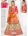 Beige And Rani Banarasi Heavy Embroidered Hand Worked Designer Wedding Lehenga Choli