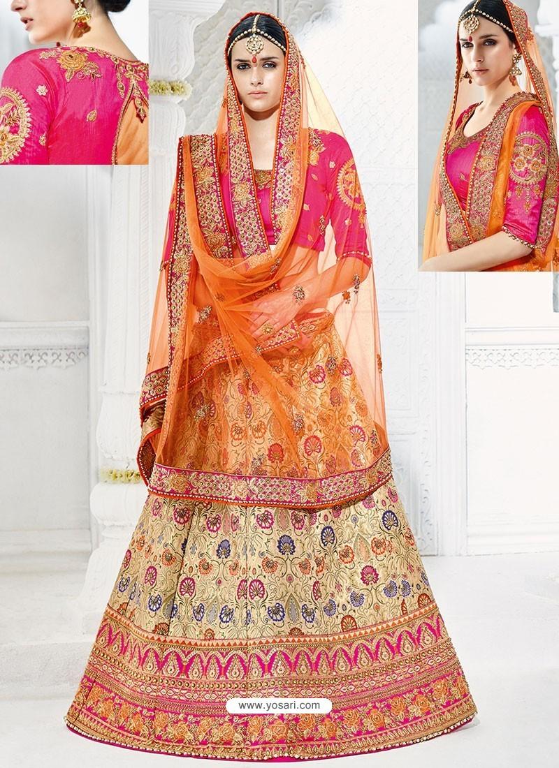 Beige And Rani Banarasi Heavy Embroidered Hand Worked Designer Wedding Lehenga Choli