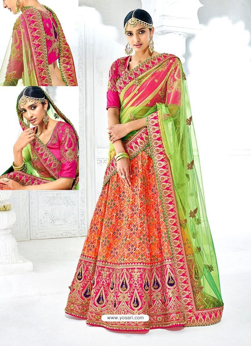 Orange And Rani Banarasi Heavy Embroidered Hand Worked Designer Wedding Lehenga Choli